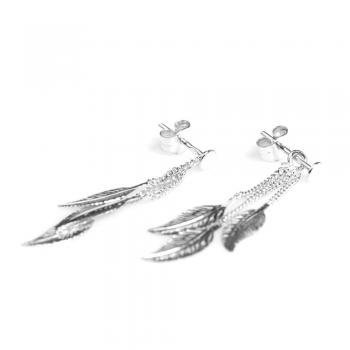 Bijou femme boucles d'oreilles  3 plumes pendantes