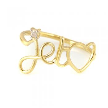 Bijou femme, bague je t'aime, diamant, Or jaune et blanc, 9 carats