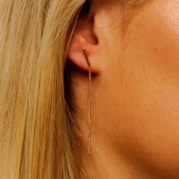 Bijou Femme Boucles d'oreilles semi rigide et 1 chaîne en Or jaune ou Or blanc