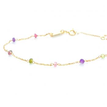 Bijou femme bracelet orné de 9 pierres fines en Or jaune ou Or blanc