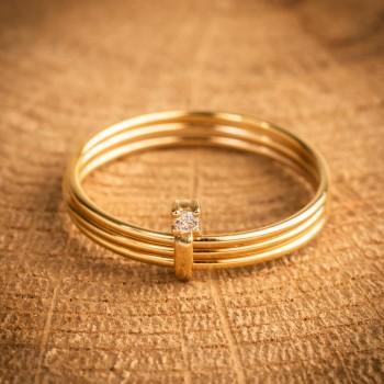 Bague bijou femme trois anneaux et diamant